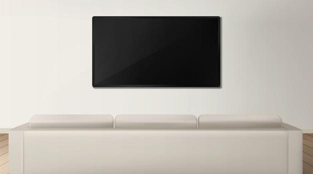 Sofá e tv vista traseira no interior da sala de estar Vetor grátis