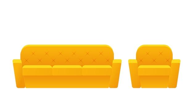Sofá, sofá, ícone de poltrona. . móveis em apartamento. equipamento amarelo animado da casa para a sala de visitas isolada. desenhos animados conjunto de elementos para o salão. Vetor Premium