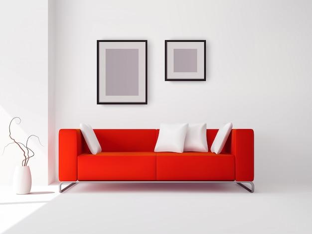 Sofá vermelho com travesseiros e quadros Vetor grátis