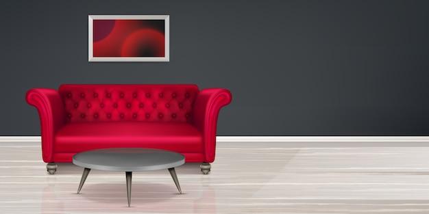Sofá vermelho, design de interiores de habitação moderna de sofá Vetor grátis