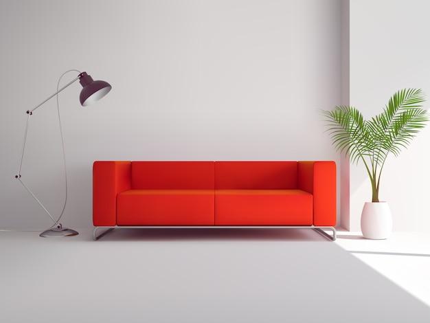 Sofá vermelho realista Vetor grátis