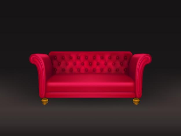 Sofá vermelho, sofá isolado no preto Vetor grátis