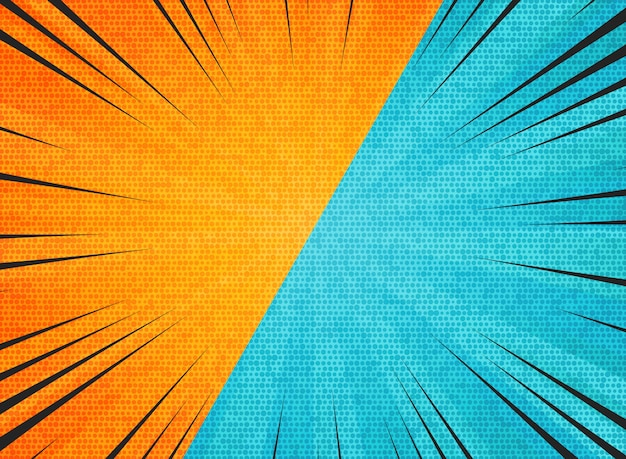 Sol abstrato explosão contraste laranja azul cores de fundo Vetor Premium