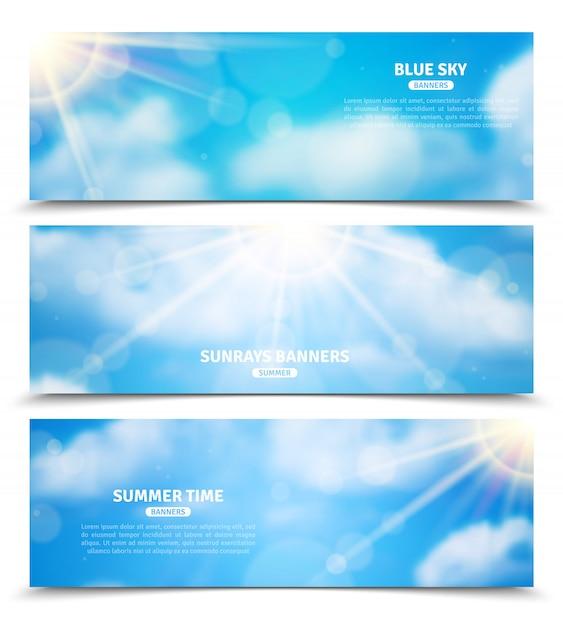 Sol através do conjunto de banners de céu de nuvens Vetor grátis