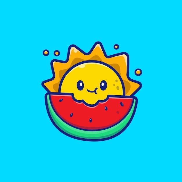 Sol bonito comendo ilustração de ícone de melancia. conceito de ícone de frutas de verão. Vetor Premium