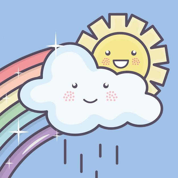 Sol de verão bonito e nuvens chuvosas com personagens de arco-íris kawaii Vetor grátis