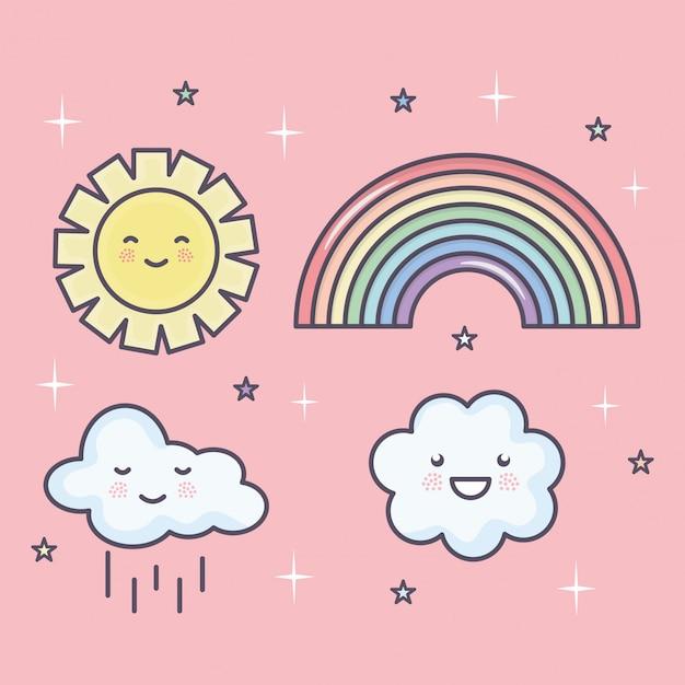 Sol de verão bonito e nuvens com arco-íris definir caracteres kawaii Vetor grátis