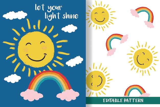Sol desenhado à mão e arco-íris com padrões editáveis Vetor Premium
