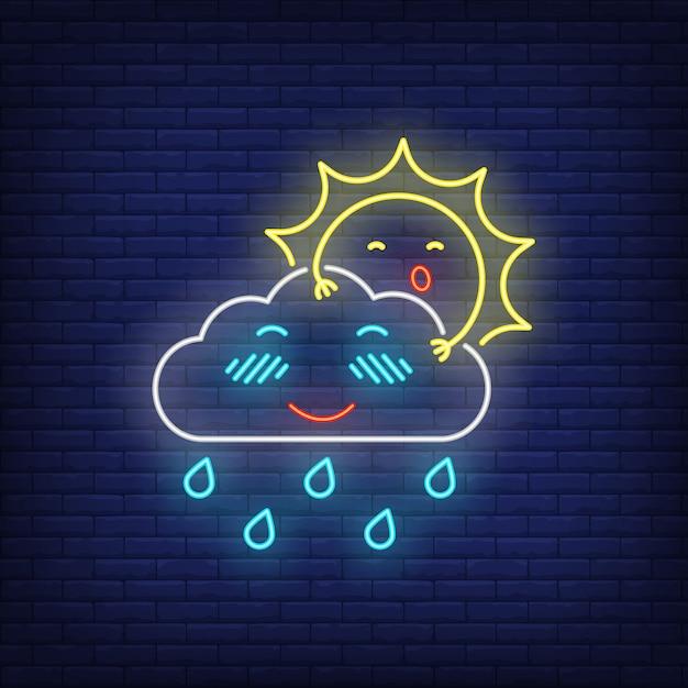 Sol dos desenhos animados, se escondendo atrás de sinal de néon de nuvem Vetor grátis