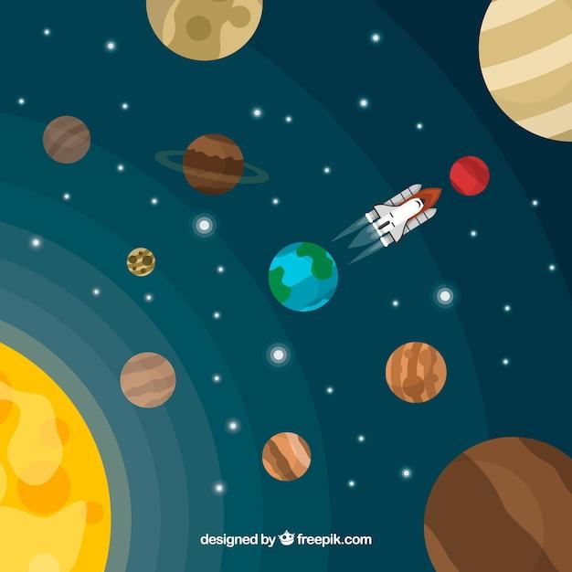 Sol e planetas de fundo em design plano Vetor grátis