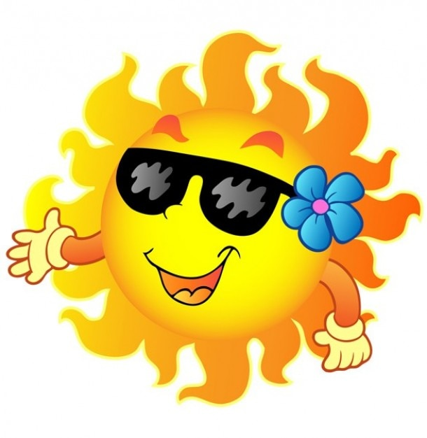 Sol feliz com óculos de sol e ilustração flor dos desenhos animados Vetor grátis