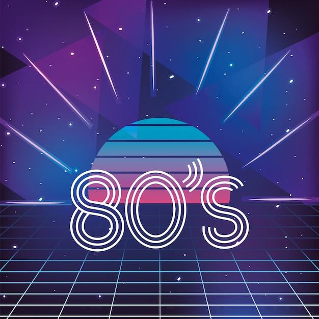 Sol gráfico e estilo de néon geométrico dos anos 80 Vetor Premium
