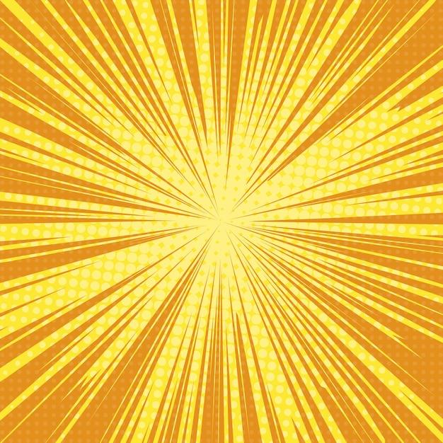 Sol raios pop art fundo retrô Vetor Premium