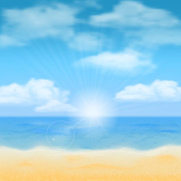 Sol sobre o horizonte do mar e as nuvens. vetor de fundo. Vetor Premium