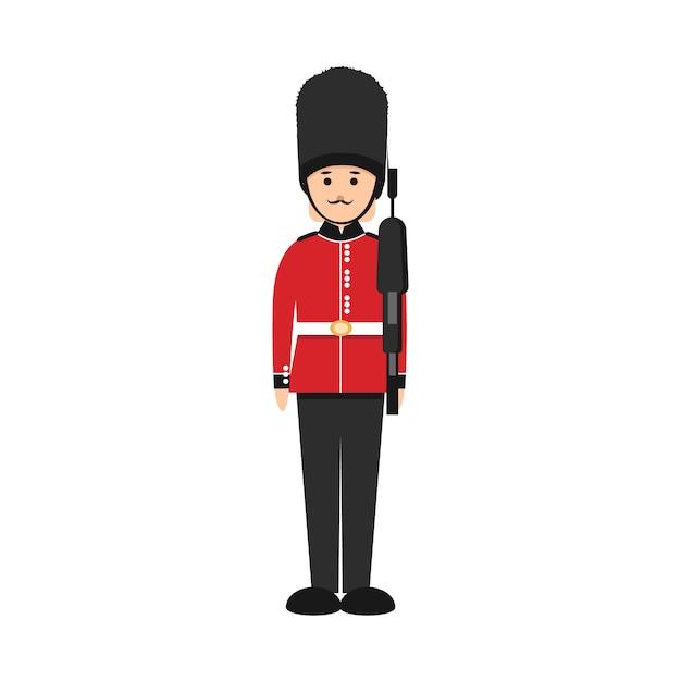 Soldado britânico em estilo simples. guarda da rainha em uniforme tradicional. Vetor Premium