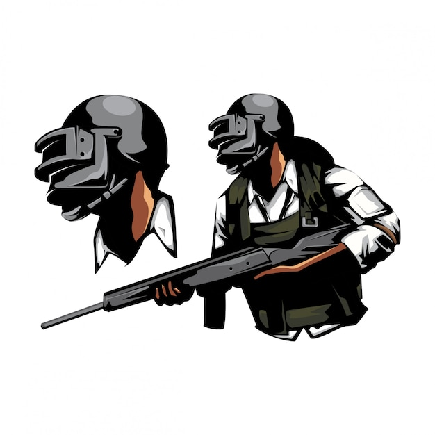 Soldado com arma de rifle Vetor Premium