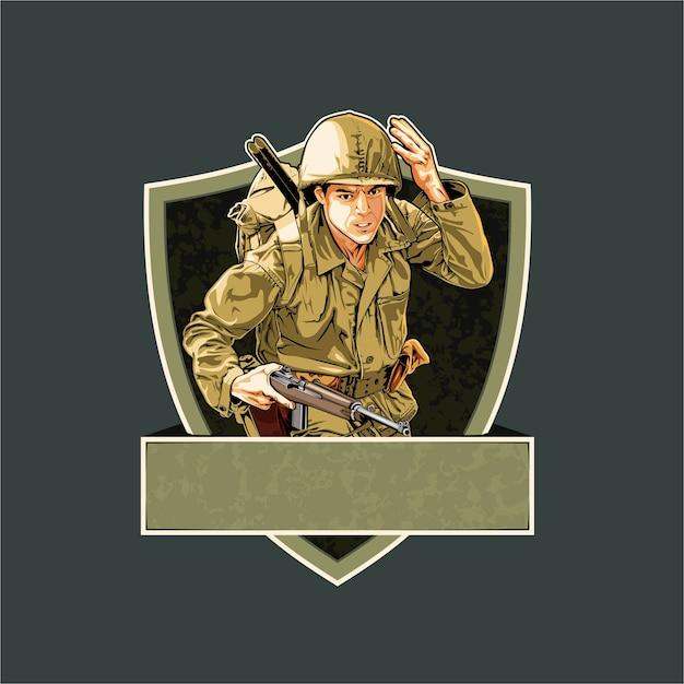 Soldado da segunda guerra mundial destacado para a batalha Vetor Premium