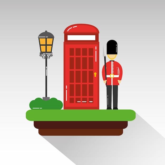 Soldado dos desenhos animados da guarda, telefone da cabine real e lâmpada de rua Vetor Premium