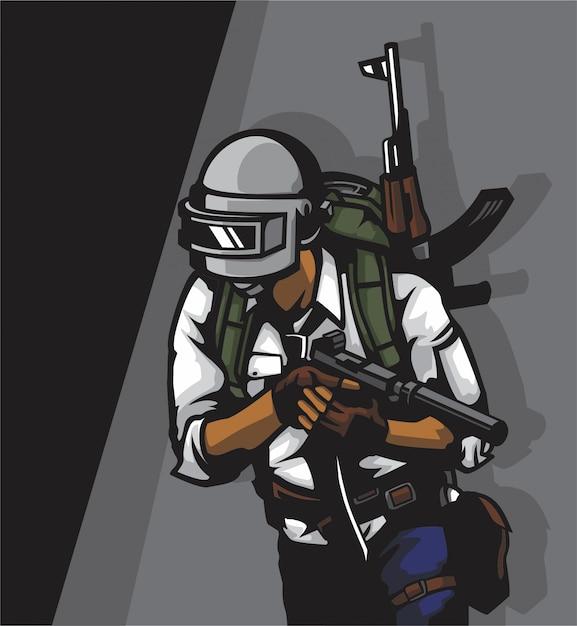 Soldado em um campo de batalha Vetor Premium
