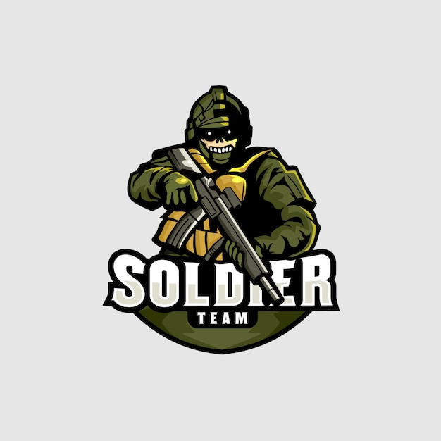 Soldado esports logo gaming Vetor Premium