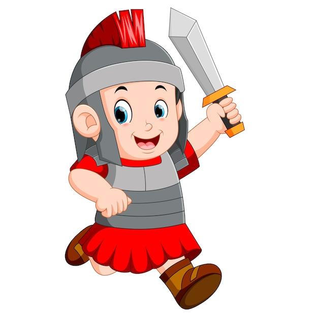 Soldado forte do império romano Vetor Premium