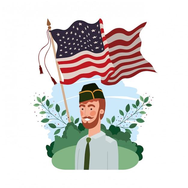 Soldado homem de guerra com bandeira de paisagem e estados unidos Vetor Premium