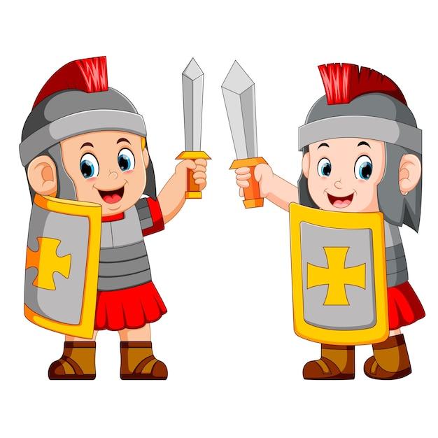 Soldado romano com espada de pé Vetor Premium