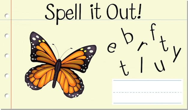 Soletrar a palavra em inglês borboleta Vetor grátis