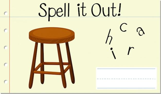Soletrar cadeira de palavras em inglês Vetor grátis