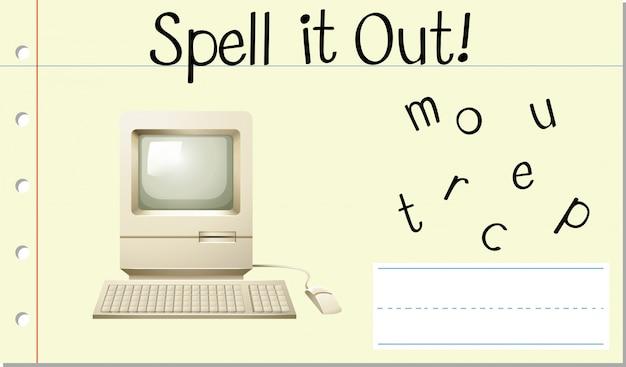 Soletrar computador com palavras em inglês Vetor grátis
