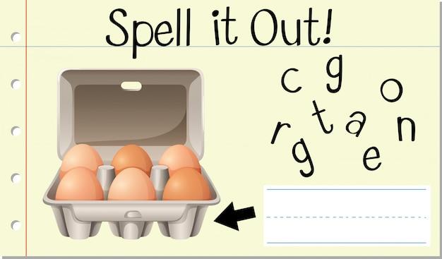 Soletrar palavra inglês ovo caixa Vetor grátis