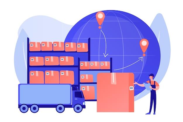 Solicite serviço de entrega em todo o mundo. armazenamento de produtos de armazém. armazém de trânsito, armazém alfandegado, processo de transferência do conceito de mercadorias. ilustração de vetor isolado de coral rosa Vetor grátis