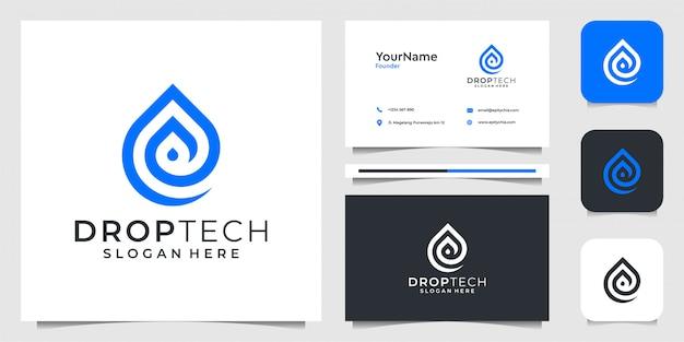 Solte o logotipo no estilo de arte linha de tecnologia. bom para branding, negócios, publicidade, símbolo, líquido, aqua e cartão de visita Vetor Premium