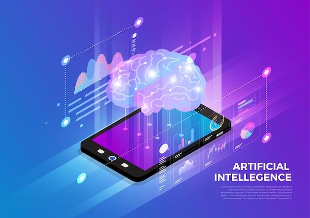 Solução de tecnologia móvel de conceito de design de ilustrações isométricas no topo Vetor Premium