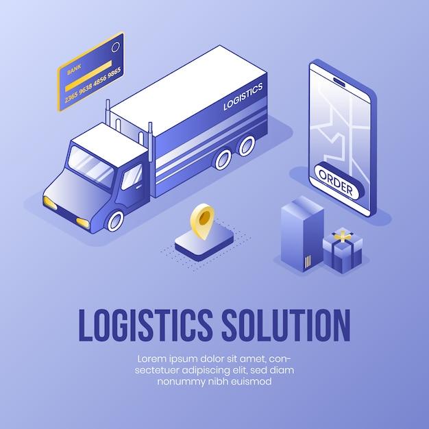 Solução logística. conceito de design isométrico digital Vetor Premium