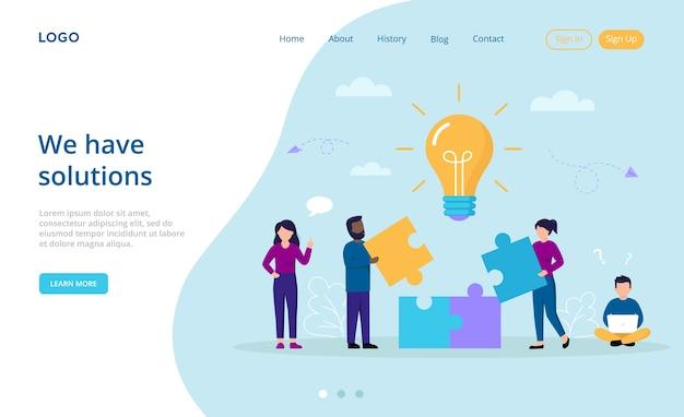 Soluções de negócios, perspectivas, conceito de trabalho em equipe. composição de desenho animado com personagens criativos juntando peças do quebra-cabeça, conseguindo a imagem. Vetor Premium