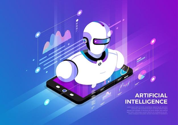Soluções de tecnologia móvel de conceito de design de ilustrações isométricas no topo com inteligência artificial Vetor Premium