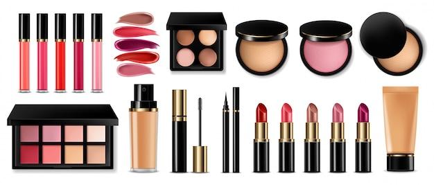 Sombra de olhos, brilho labial e coleção blush em pó Vetor Premium