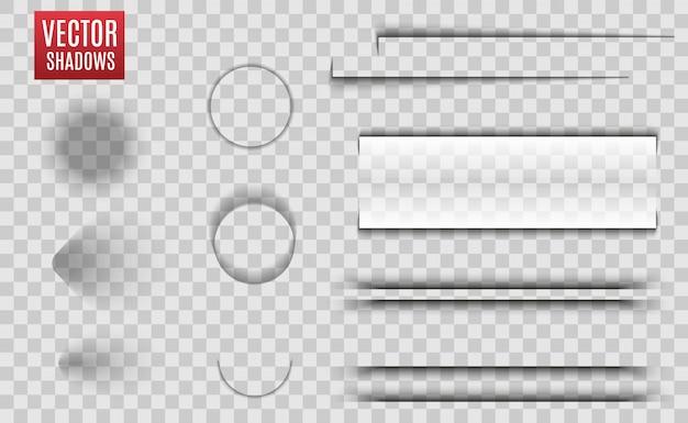 Sombras isoladas. ilustração realista de sombra transparente. divisor de página com sombras transparentes isoladas. conjunto de páginas. Vetor Premium