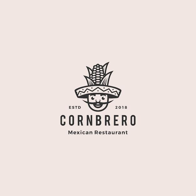 Sombrero hat corn mexican restaurant logo Vetor Premium