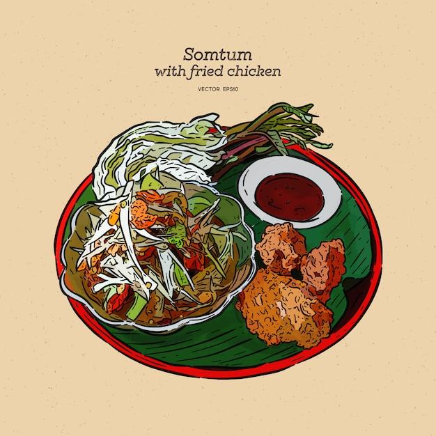 Somtum com ilustração de frango frito Vetor Premium