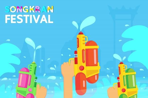 Songkran festival é um longo feriado na tailândia. Vetor Premium