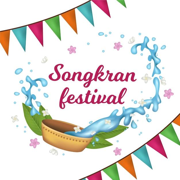 Songkran realista com guirlandas e água Vetor grátis