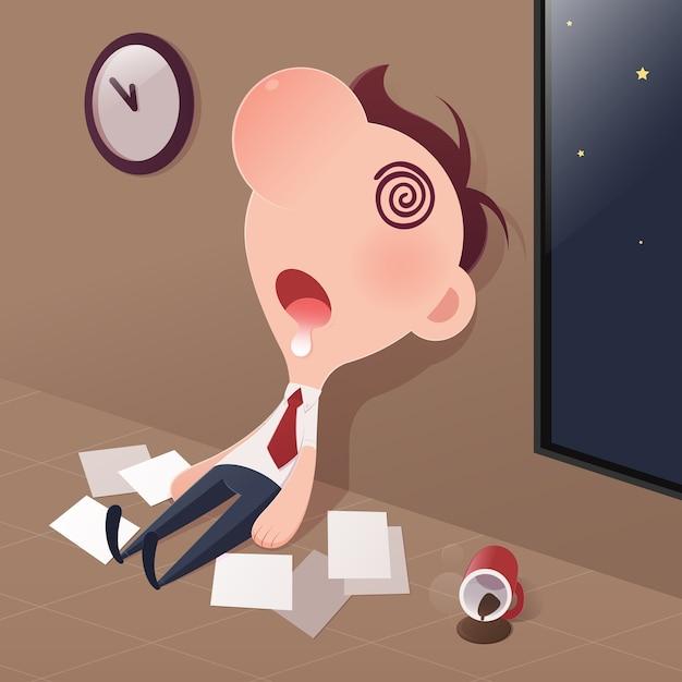 Sono cansado do homem de negócios no escritório. Vetor Premium