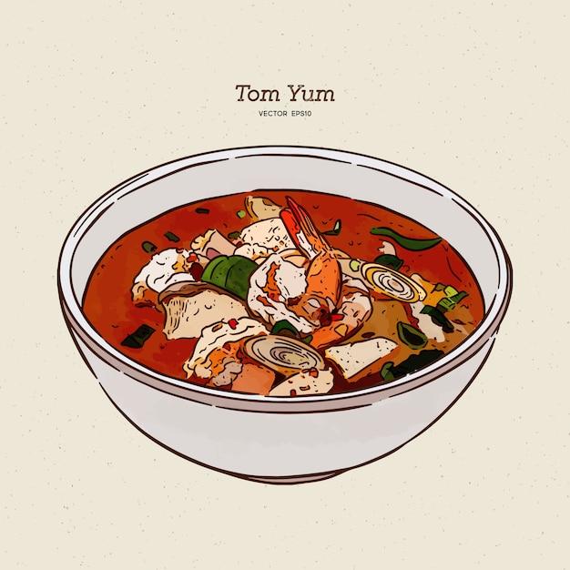 Sopa de tom yum, comida tailandesa. esboço de desenhar mão. Vetor Premium