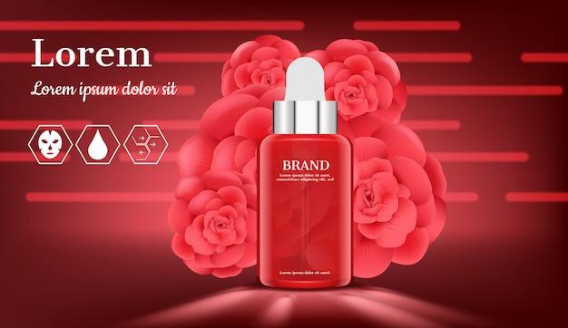 Soro com rosas florescendo no vermelho Vetor Premium