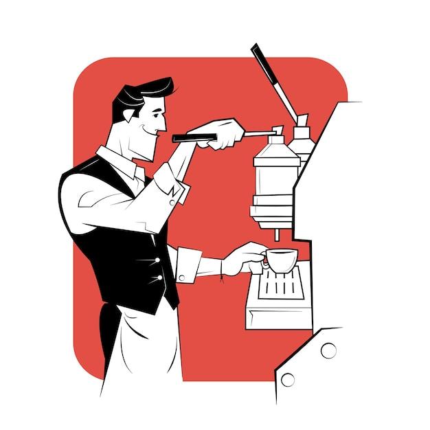 Sorridente barista preparando café com cafeteira. Vetor Premium