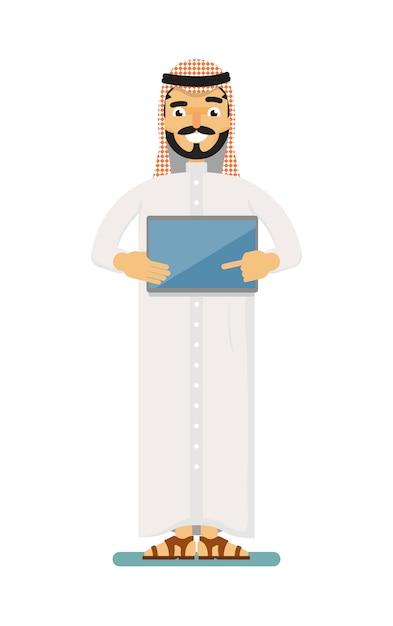 Sorridente empresário muçulmano com computador tablet Vetor Premium