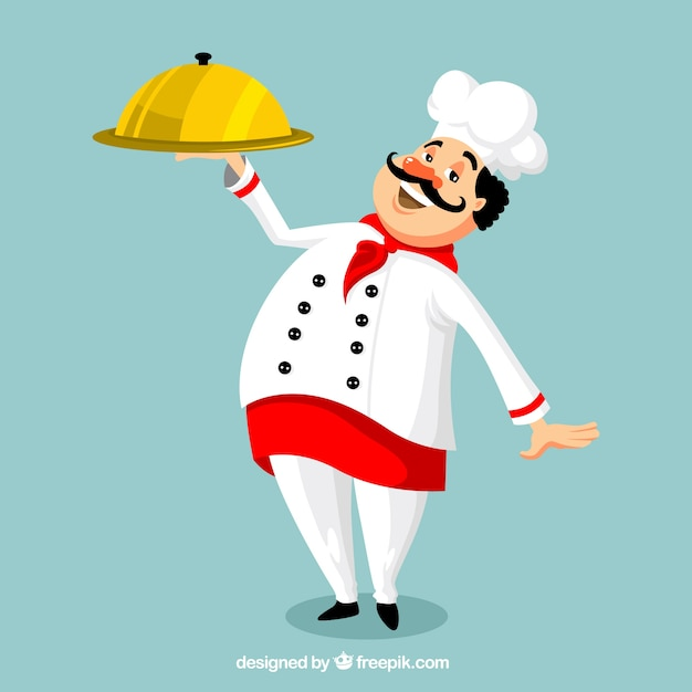 Sorrindo, cozinheiro, bandeja Vetor grátis