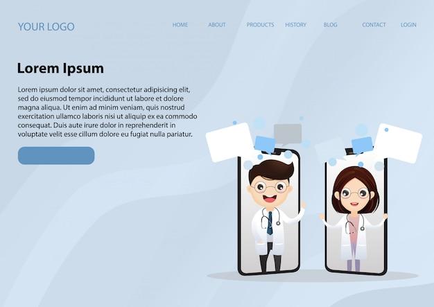 Sorrindo doutor na tela do telefone Vetor Premium